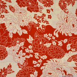 Coton imprimé pivoine rouge et blanc