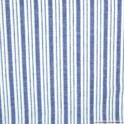 Lin, coton et lurex double rayure bleu