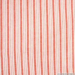 Lin, coton et lurex double rayure corail