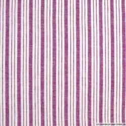 Lin, coton et lurex double rayure rose