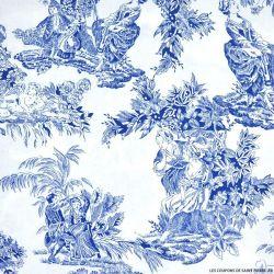 Popeline imprimé toile de jouy bleu