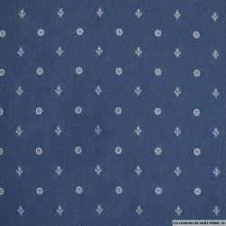 Jean's coton fin imprimé bateau bleu