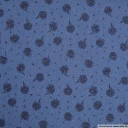 Jean's coton fin imprimé pivoine bleu foncé