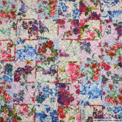 Maille imprimée damier à fleurs multicolore