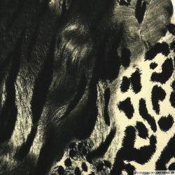Maille imprimée mammifères carnivores beige et noir