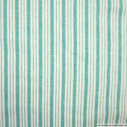 Lin, coton et lurex double rayure vert givré