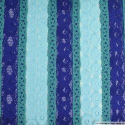 Dentelle frise tricolore turquoise, ciel et violet