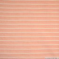 Voile de Coton brodé rayé blanc sur fond rose