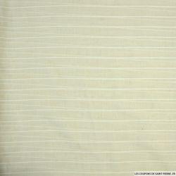 Voile de Coton brodé rayé blanc sur fond blanc cassé