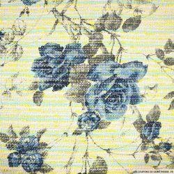 Tweed polyester fleurs enchantées jaune et bleu