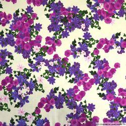 Milleraies viscose imprimé fleurs artificiels violet