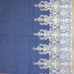 Jean's coton fin brodé écru Versailles festonné bleu