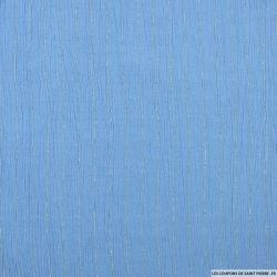 Crépon viscose rayures lurex bleu ciel