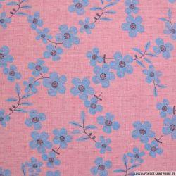 Gaze ajourée imprimée capucine fond rose