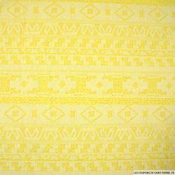 Maille jacquard aztèque citron jaune