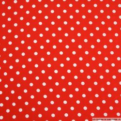 Microfibre imprimé pois blanc sur fond rouge
