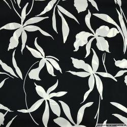 Satin polyester envolée de corolle fond noir