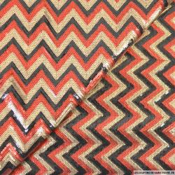 Tulle brodé zigzag sequins doré,rouge et noir