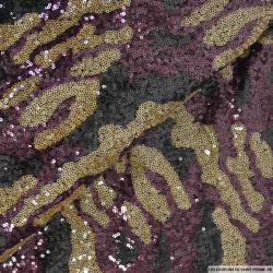 Tulle brodé camouflage sequins violet et mordoré