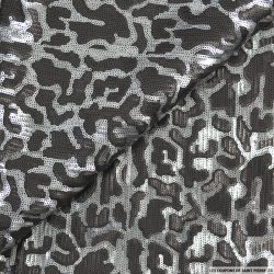 Tulle brodé camouflage sequins gris et noir
