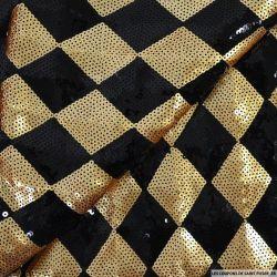 Maille brodée damier sequins doré et noir