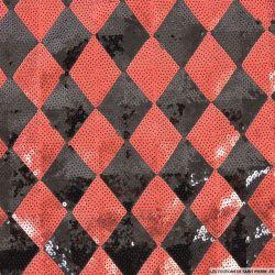 Maille brodée damier sequins rouge et noir