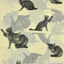 Mousseline lurex imprimé chat fond écru