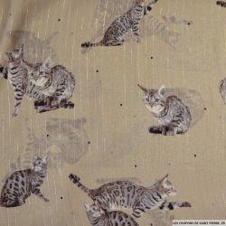 Mousseline lurex imprimé chat fond marron clair
