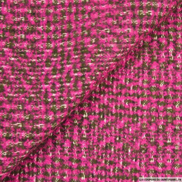 Laine tricot fuchsia et kaki