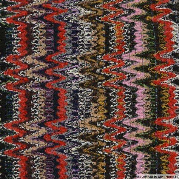 Tweed polyester contrecollé zigzag rouge et vert