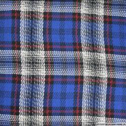 Tweed polyester quadrillage bleu