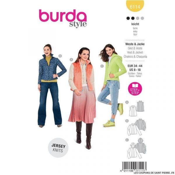 Patron Burda n°6114: Patron gilet et veste