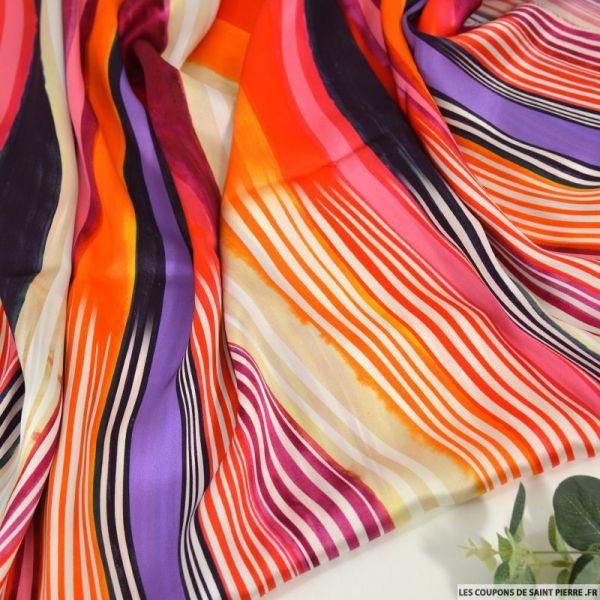 Satin de soie imprimé vivre avec panache