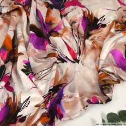 Satin de soie imprimé beauté enivrante fuchsia