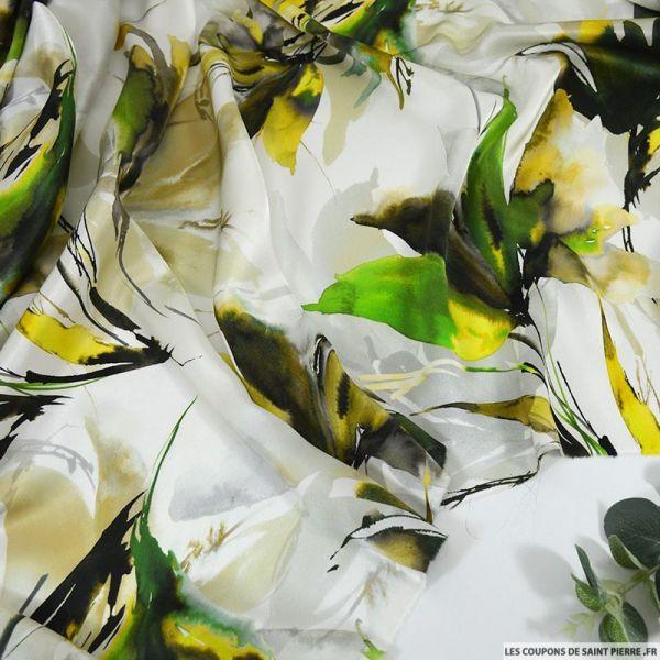 Satin de soie imprimé beauté enivrante jaune