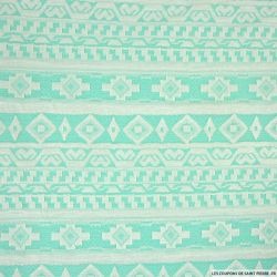 Maille jacquard aztèque turquoise