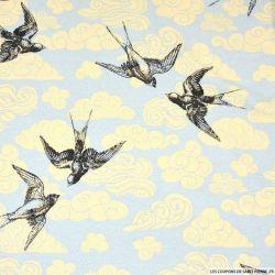 Jersey viscose imprimé oiseaux font bleu ciel