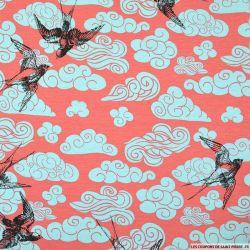 Jersey viscose imprimé oiseaux font rose