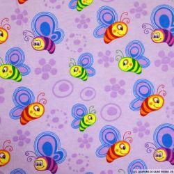 Flanelle de coton imprimé abeille fond rose