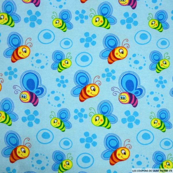 Flanelle de coton imprimé abeille fond bleu