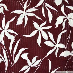 Crépon viscose lurex fleurs de printemps rouge