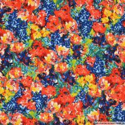 Crépon viscose lurex danse de fleurs rouge