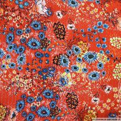 Crépon viscose lurex pétales de fleurs rouge