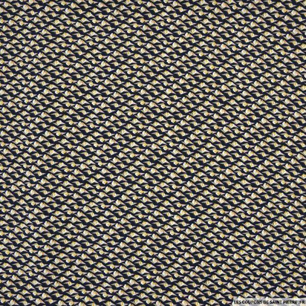 Microfibre imprimée fleurs de coton fond marine
