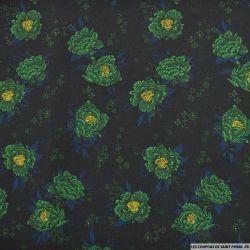 Microfibre imprimée somptueuse vert fond noir