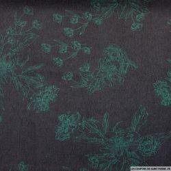 Microfibre imprimée raffinement vert fond noir