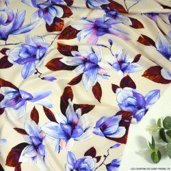 Satin de soie imprimé avec prestance rouge-violet