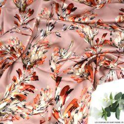 Satin de soie imprimé vivre avec panache fond rose