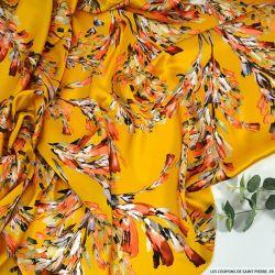 Satin de soie imprimé vivre avec panache fond jaune