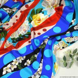 Satin de soie imprimé en apothéose multicolore